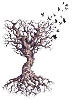 Dead-Tree Drawings | Dead Tree and Black Sparrows by phoebus-chango