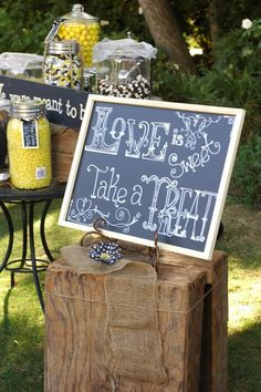 Garden Wedding : Great sign, maybe we could have a dessert table with candy instead of just cupcakes #gardenweddings