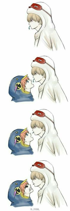 Cute Comics, Funny Comics, Cute Chibi Couple, Gintama Funny, Anime Family, Okikagu, Special Pictures, Cute Anime Couples, Anime Chibi