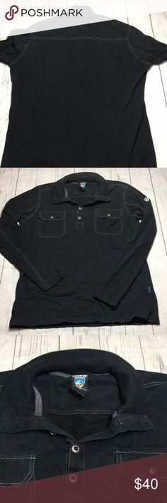 "Kuhl Men's Shirt Medium Pullover black mountain Kuhl Men's Shirt Medium Black Long Sleeve Polo Style Organic Cotton Rock/Mountain Climbing Gear  Chest: 22"" Length: 28""   L Kuhl Shirts Casual Button Down Shirts"