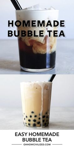 Yes, bubble tea can be made at home! A delicious bubble tea recipe made with black tea, chewy tapioca balls, and topped with a decadent cream froth. Boba Tea Recipe, Milk Tea Recipes, How To Make Bubbles, Boba Drink, High Tea Food, Bubble Milk Tea, Homemade Bubbles, Tea Smoothies, Fun Baking Recipes