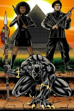 herochan: Black Panther Created by Terry Huddleston Black Panther Art, Black Panther Marvel, Black Girl Art, Black Girl Magic, Black Panthers Movement, Black Cartoon Characters, Cartoon Art, Black Comics, Black Art Pictures