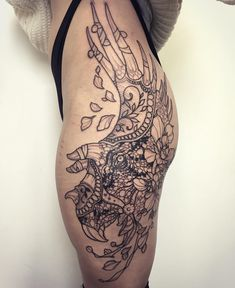 Triceratops Tattoo with such intricate detailing and line work.