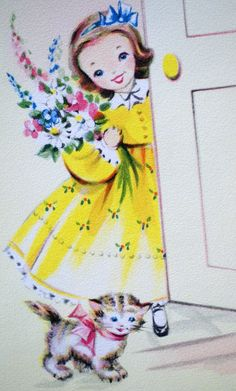 Vintage 1950s Little Girl And Kitten Greetings Card