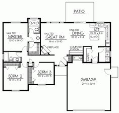 Ranch Style House Plans - 1437 Square Foot Home , 1 Story, 3 Bedroom and 2 Bath, 2 Garage Stalls by Monster House Plans - Plan 1-282