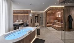 A wellness area for all the senses does not always have to be a dream . Jacuzzi Room, Indoor Jacuzzi, Modern Saunas, Modern Pools, Home Spa Room, Spa Rooms, Modern Bathroom Decor, Bathroom Spa, Bathroom Ideas