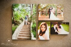 Clustered photo canvases  would be a great way to fill up our art niche without ordering just one large canvas.