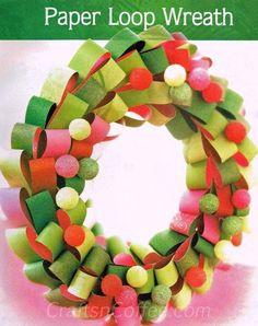 DIY Christmas Crafts : DIY: How to make a Paper Loop Christmas Wreath
