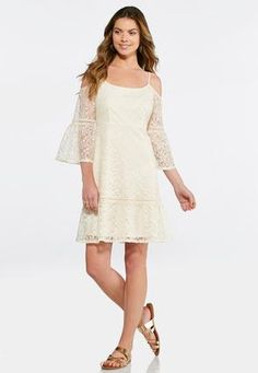 Cato Fashions Cold Shoulder A-Line Lace Dress  CatoFashions Swing Dress 574c384ae