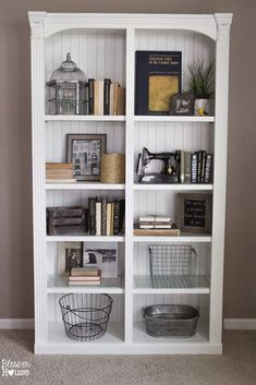 How to Make a Faux Planked Eclectic Bookcase - Bless'er House