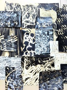 Decorated papers, using black ink and bleach and rubbing with a white crayon after the bleach was dry. Bleach Drawing, Bleach Art, Textiles Sketchbook, Art Sketchbook, Fashion Sketchbook, Nocturne, Collages, Collage Art, A Level Textiles