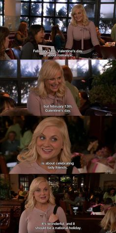 As explained by the best tv-show character ever, Leslie Knope from Parks and Recreation. Galentines Day Ideas, Happy Galentines Day, Parks N Rec, Parks And Recreation, Leslie Knope, Amy Poehler, Gal Pal, Lol, Be My Valentine