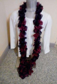 Women's handmade Knitted Tango maron, plum Ruffle scarf  New #Handmade #Scarf #any