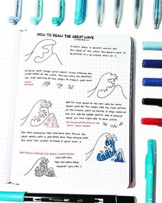 How to Draw The Great Wave (simplified hehe) The first step I had to outline in a marker (bc pencil doesn't show up as well) but yes that…