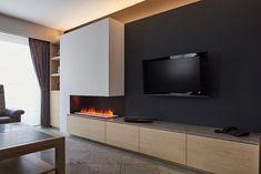 Inbouwhaarden op elektriciteit met verschillende vlameffecten Living Room Decor Fireplace, Home Fireplace, Modern Fireplace, Fireplace Design, Classy Living Room, Home Living Room, Living Room Tv Unit Designs, Hotel Room Design, House Rooms