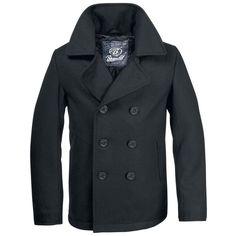 płaszcz marynarski PEA-COAT schwarz - sklep RockMetalShop.pl