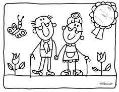 kleurplaat opa en oma Renewal of THE VOWs Art Drawings For Kids, Drawing For Kids, Colouring Pages, Coloring Books, Grandparents Day Crafts, Stick Family, Grands Parents, Doodle Designs, Stick Figures