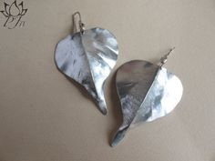 Pipal Leaf fold formed earring aluminium and india silver by Padma Jewels Bazaar