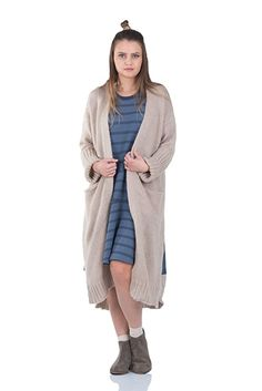 Simply Love 'Venice' Coat Sweater Solid Lightweight Knitted Open Front Long Cardigan Warm Pockets Casual (Beige)