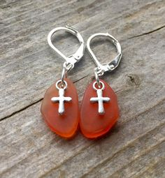Tangerine Recycled Glass Earrings With Tiny by McHughCreations