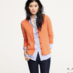 """J. Crew Microstripe Cardigan From retail. Pima cotton/wool blend. Orange with greyish/white stripes and dark buttons; v-neck; long sleeves. Bust is about 18"""" flat; length is about 22"""" from the collar. Some light fuzzing from wash/wear. Has elbow patches! J. Crew Sweaters Cardigans"""