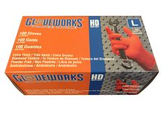 Gloveworks Orange Nitrile Heavy-Duty Gloves - Truck Parts HQ