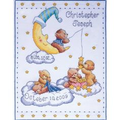 Amazon.com: Tobin Bears In Clouds Birth Record Counted Cross Stitch Kit: Arts, Crafts & Sewing