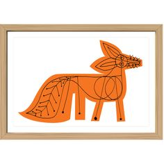 Mark McGinnis Orange Fox Framed Print (365 AUD) ❤ liked on Polyvore featuring home, home decor, wall art, backgrounds, framed wall art, orange home accessories, framed floral wall art, floral home decor and animal wall art