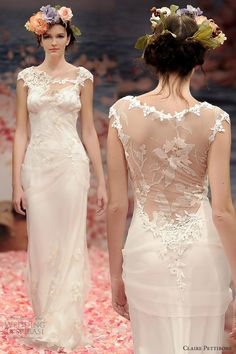 claire pettibone spring 2013 adagio sheath wedding dress cap sleeves