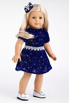 DreamWorld Collections Midnight Blue - Dark blue sparkling holiday dress with matching silver shoes - Doll Clothes for 18 Inch Dolls : Speci...