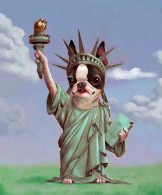 Boston Terrier Statue of Liberty by rubenacker on Etsy, $18.00
