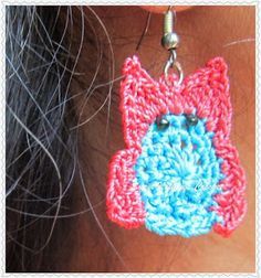 Sweet Nothings Crochet a pair of owl ear rings