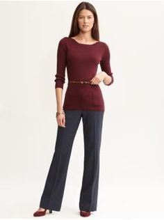 Women's Apparel: stylish work | Banana Republic: Patch pocket pullover in burgundy, Martin fit navy  lightweight wool trouser, Gracie suede mary jane pump in Oxblood, and Haircalf skinny belt in Leopard