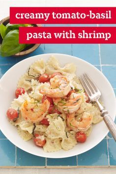 Creamy Tomato-Basil Pasta with Shrimp – You might want to hire a waiter to serve this beautiful (but simple) Creamy Tomato-Basil Pasta with Shrimp recipe. It's that close in taste to a high-end entrée.