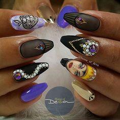 Disney Purple and Black Nails Cartoon Nail Art Maleficent Nails, Nail Art Dessin, Hair And Nails, My Nails, Matte Pink Nails, Black Nails, Matte Gel, Disney Inspired Nails, Disney Nails Art