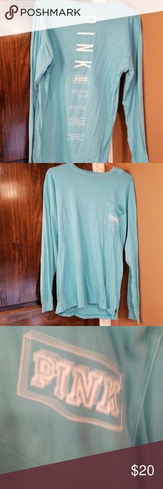 VS Pink Campus Long Sleeve Tee • Turquoise in color  • Excellent used condition  • Never dried in dryer  • Stored in smoke free environment   I love offers and will consider any offer! Thanks for looking and Happy Poshing!   ☆☆ Stay tuned as I'm about to have a closet clean out and will be posting lots more GUC items! PINK Victoria's Secret Tops Tees - Long Sleeve