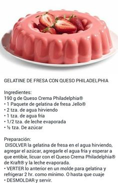 Gelatina de fresa con queso philadelphia: Jello Desserts, Dessert Drinks, Easy Desserts, Delicious Desserts, Yummy Food, Gelatin Recipes, Jello Recipes, Baking Recipes, Dessert Recipes