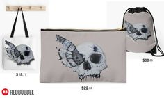 'Transformation' Skull Moth Tote, Studio Pouch and Drawstring Bag #artbyurte