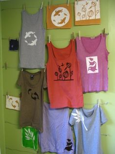 Paper stenciling on shirts. So cute!