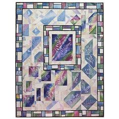 Art Quilt- Stained Glass and Ferns- Featuring Sunprints by Sue Andrus | AndrusGardensQuilts - Quilts on ArtFire