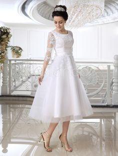 White A-line Jewel Neck Applique Bridal Wedding Gown Civil Wedding Dresses, Bridal Wedding Dresses, White Wedding Dresses, Wedding Dress Styles, Wedding Attire, Bridesmaid Dresses, Half Sleeve Wedding Dress, Tea Length Wedding Dress, Holy Communion Dresses