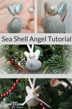 Turn those sea shells you collected at the beach this summer into adorable Sea Shell Angel with this complete step-by-step tutorial. Seashell Projects, Seashell Crafts, Beach Crafts, Diy And Crafts, Seashell Christmas Ornaments, Coastal Christmas, Christmas Crafts, Christmas Decorations, Beach Christmas Trees