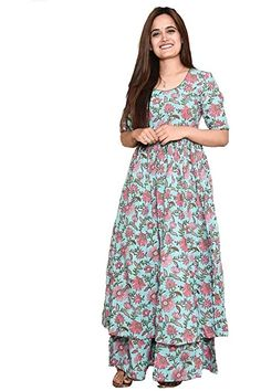 Cotton Anarkali, Anarkali Gown, Kurta Designs For Female, Anarkali Patterns, Checkered Trousers, Kurta Palazzo, Indian Outfits, Cotton Dresses, Kurti