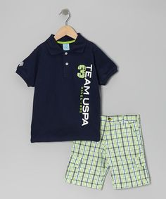 Take a look at this Navy Polo & Plaid Cargo Shorts - Infant & Toddler by U.S. Polo Assn. on #zulily today!