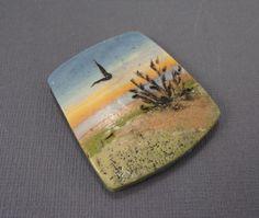 Handmade Polymer Clay 32x35mm Focal Bead  Pendant-Seascape-Sunrise-Beach Themed-Blue-Yellow-Orange--PA 8641 by StudioStJames on Etsy