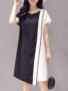 Black & White Color Block Asymmetric-Hem Shift Dress - Women on Elegant Dresses For Women, Summer Dresses For Women, Simple Dresses, Casual Dresses, Fashion Dresses, Plus Size Party Dresses, Mini Dresses, Womens Clothing Stores, Designer Dresses