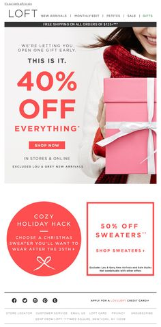 The Loft holiday email 2014