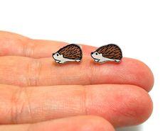 Lil' Hedgehogs Post Earrings by kteediid on Etsy, $8.00