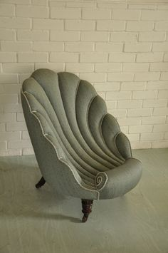 Victorian Shell Chair traditionally reupholstered at Kendal Upholstery in Lelievre fabric with cord from Houlès