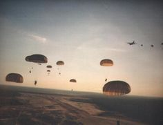 Description: U.S. Army Rangers parachute into Grenada during Operation Urgent Fury; Date: 25 October 1983; Source: http://n5xu.ae.utexas.edu/history/1980s.shtml; Author: United States Army